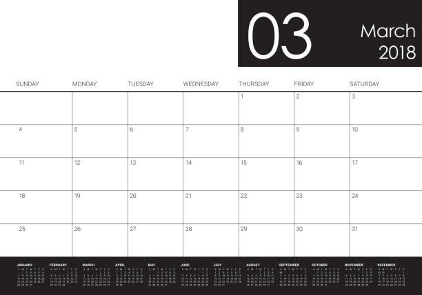 march 2018 calendar planner vector illustration vector art illustration