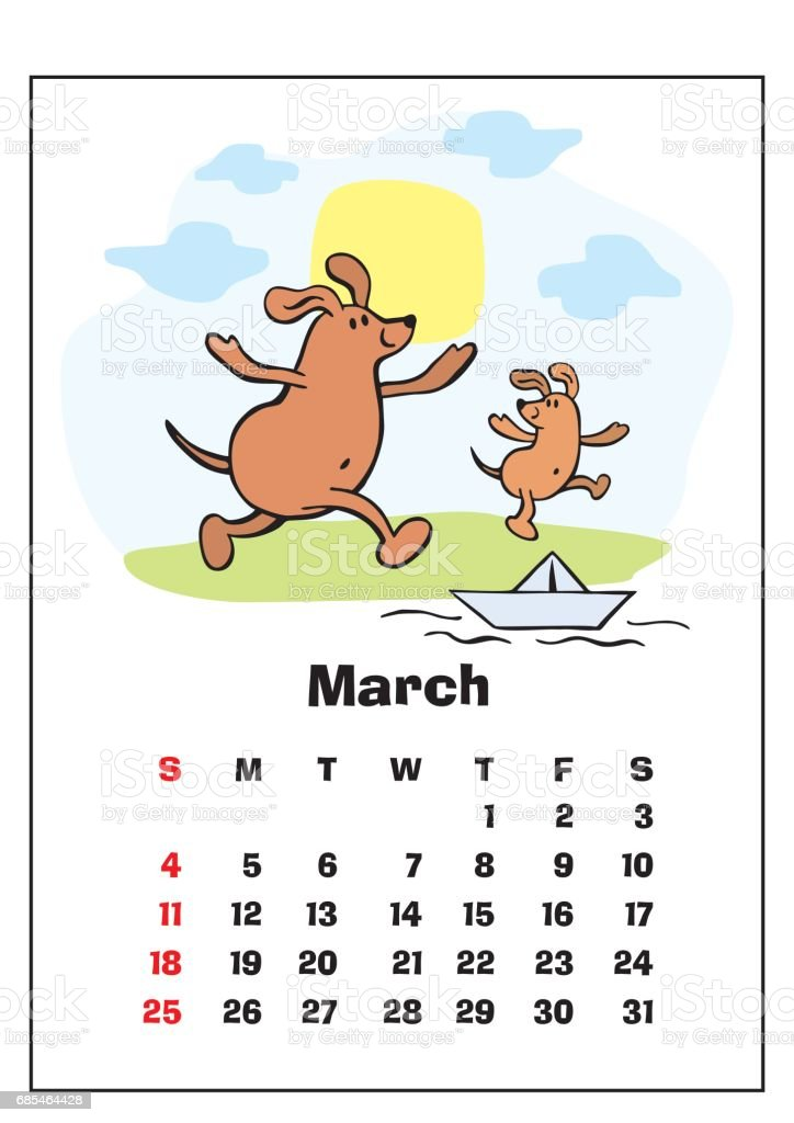 March 2018 Calendar Stock Vector Art & More Images of 2018 ...