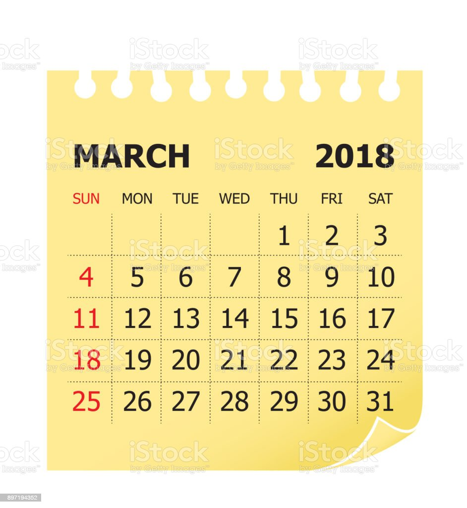 18 年 3 月カレンダーのベクトル イラスト 18年のベクターアート素材や画像を多数ご用意 Istock