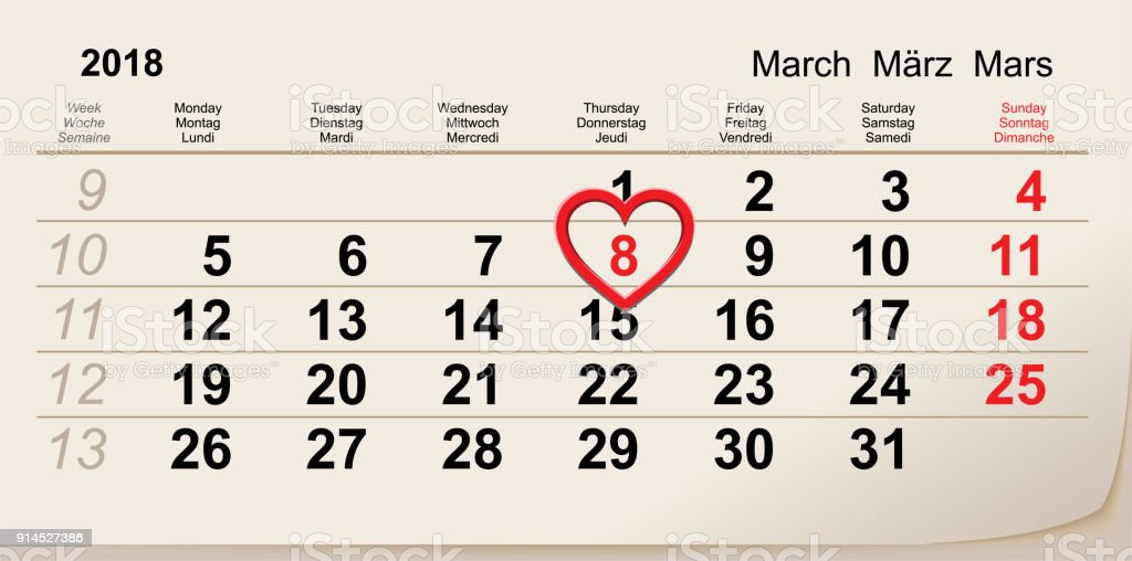 8 March 2018 International Women S Day Red Heart Symbol Love