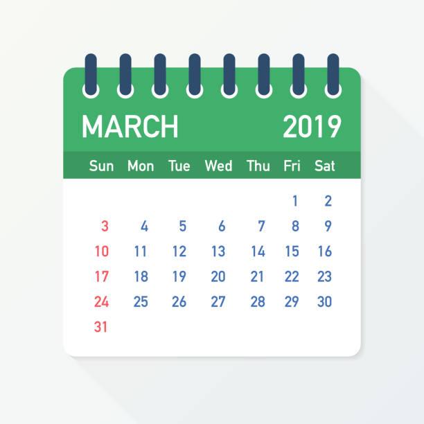 bildbanksillustrationer, clip art samt tecknat material och ikoner med mars 2019 kalender blad. kalender 2019 i platt stil. vektorillustration. - parad