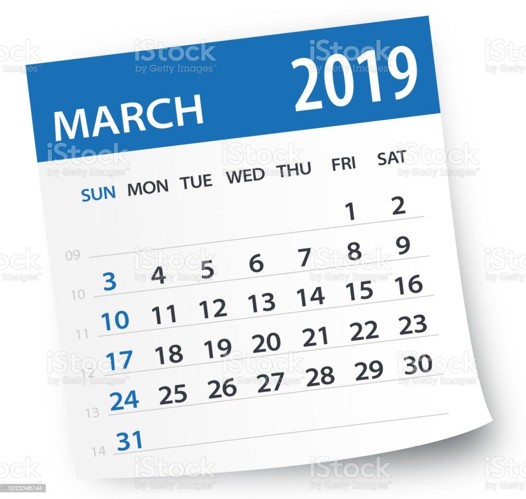 Feuille de calendrier mars 2019 - Illustration vectorielle feuille de calendrier mars 2019 illustration vectorielle vecteurs libres de droits et plus d'images vectorielles de 2019 libre de droits