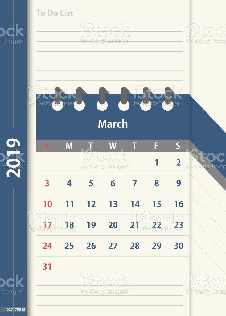 March 2019 Calendar Monthly Calendar Design Template In Vintage