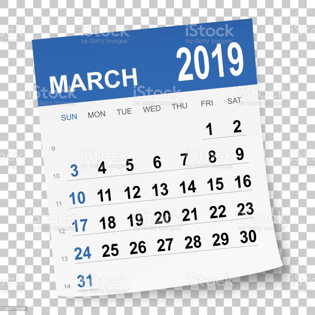March 2019 calendar vector art illustration