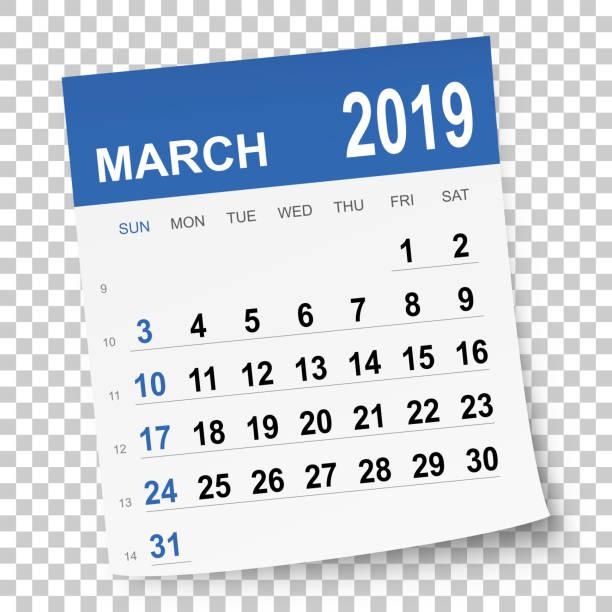 illustrations, cliparts, dessins animés et icônes de calendrier mars 2019 - mars