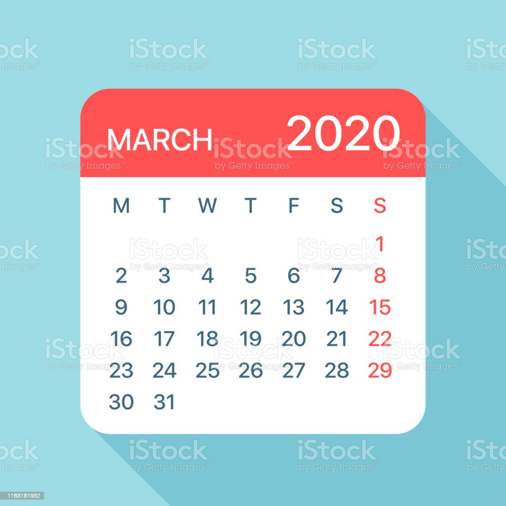 Calendario Marzo 2020.Ilustracion De Marzo 2020 Hoja Calendario Ilustracion