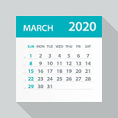 March 2020 Calendar Leaf - Illustration. Vector graphic page