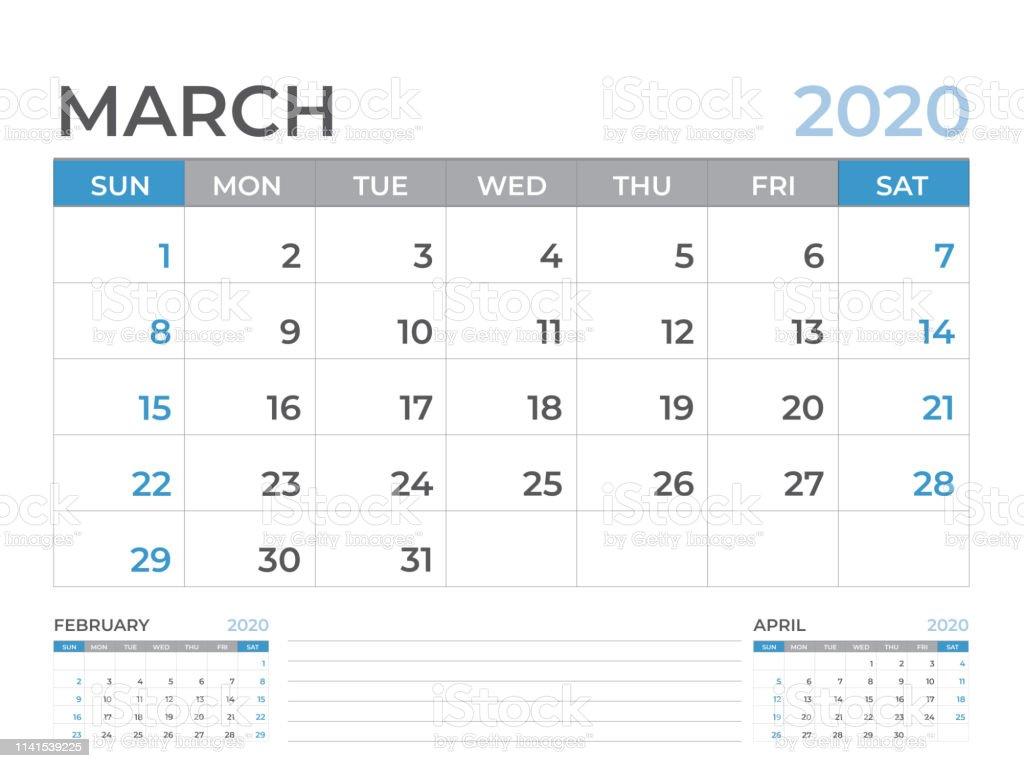 Layout Calendario 2020.March 2020 Calendar Template Desk Calendar Layout Size 8 X 6