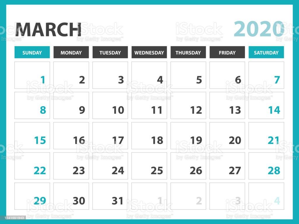 Calendario Marzo 2020.Ilustracion De Marzo 2020 Plantilla De Calendario Diseno Del
