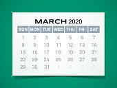 Simple March 2020 calendar design.