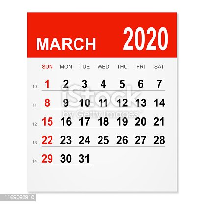 March 2020 calendar isolated on a white background. Need another version, another month, another year... Check my portfolio. Vector Illustration (EPS10, well layered and grouped). Easy to edit, manipulate, resize or colorize.