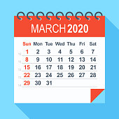 March 2020 - Calendar. Week starts from Sunday