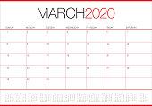 March 2020 desk calendar vector illustration, simple and clean design.