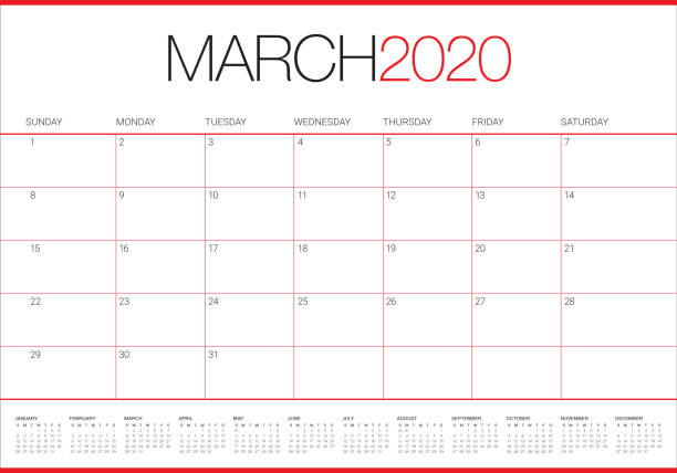 illustrations, cliparts, dessins animés et icônes de illustration vectorielle de calendrier de bureau de mars 2020 - mars