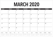 March 2020 desk calendar vector illustration, simple and clean design.