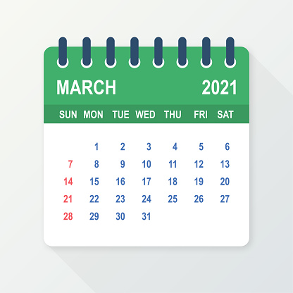 March 2021 Calendar Leaf. Calendar 2021 in flat style. Vector illustration