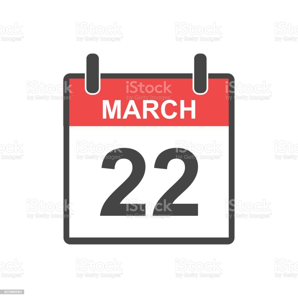 March 22 calendar icon. Vector illustration in flat style. vector art illustration