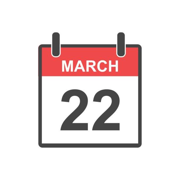 stockillustraties, clipart, cartoons en iconen met 22 maart kalenderpictogram. vectorillustratie in vlakke stijl. - date