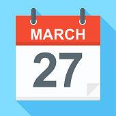 March 27 - Calendar Icon - Vector Illustration