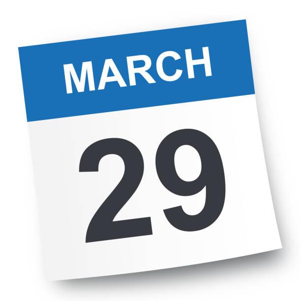 march 29 - calendar icon - calendar stock illustrations, clip art, cartoons, & icons