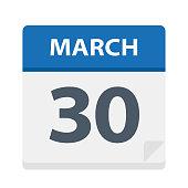 March 30 - Calendar Icon - Vector Illustration