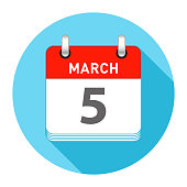 March 5 Date on a Single Day Calendar in Flat Style with long flat shadow on a blue background