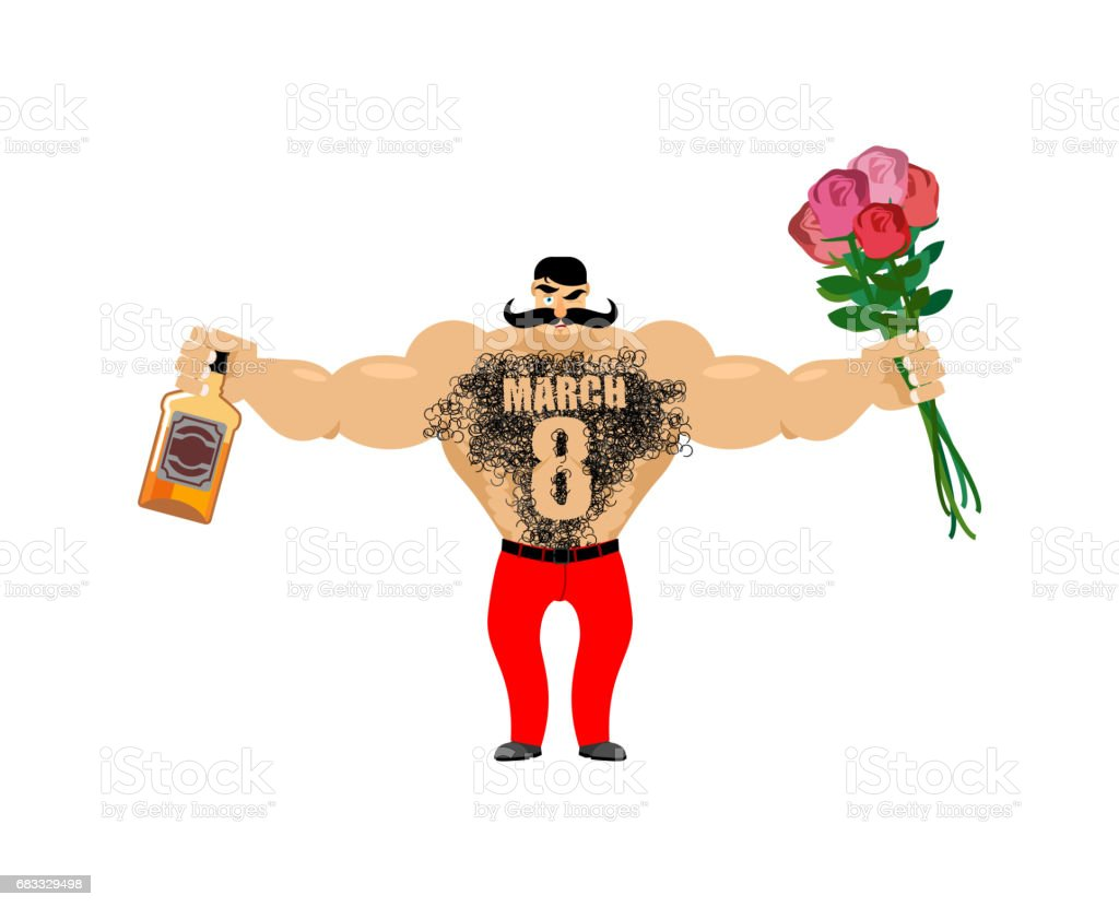March 8. Brutal macho congratulate. bottle of wine and bouquet of roses. Male torso with hair. Epilation figure eight. Men's gift for International Women's Day. royaltyfri march 8 brutal macho congratulate bottle of wine and bouquet of roses male torso with hair epilation figure eight mens gift for international womens day-vektorgrafik och fler bilder på alkohol