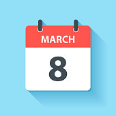 March 8. Calendar Icon with long shadow in a Flat Design style. Daily calendar isolated on blue background. Vector Illustration (EPS10, well layered and grouped). Easy to edit, manipulate, resize or colorize.