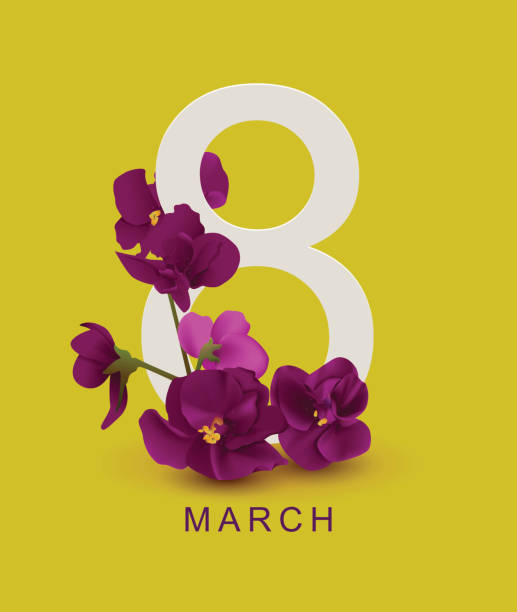 march 8 greeting card template. violet flower on yellow background - international womens day stock illustrations, clip art, cartoons, & icons