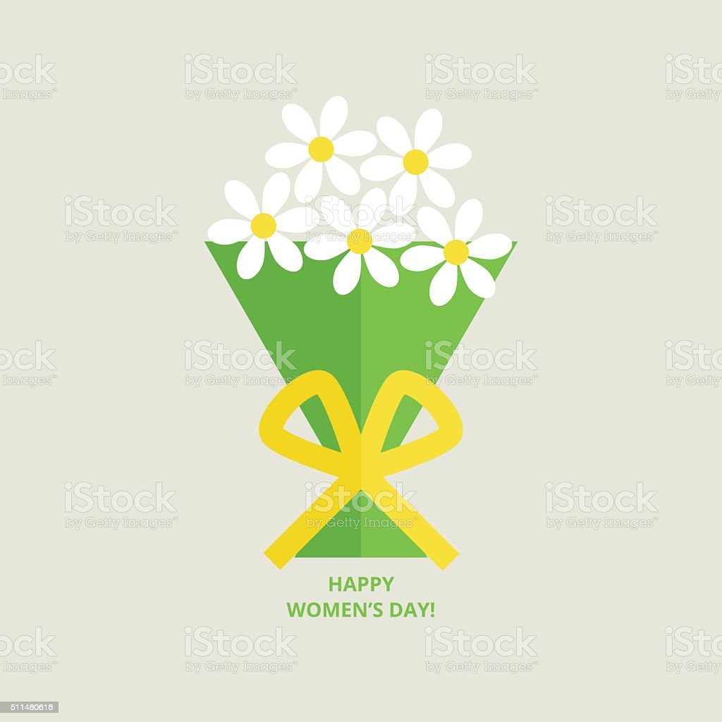 March 8 greeting card vector art illustration