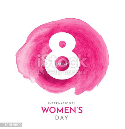 istock March 8, International Women's Day. Watercolor background. Vector 1304545520
