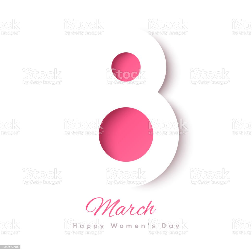 March 8 paper cut vector art illustration