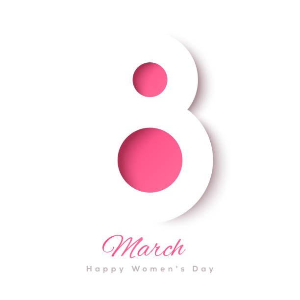 March 8 paper cut March 8 symbol in paper cut style with shadows. International Women's day white background. Vector illustration. Place for your text. number 8 stock illustrations
