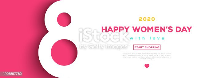 March 8 symbol in paper cut style with shadow. International Women's day background. Vector illustration. Place for text. Figure eight for greeting card, flyer or brochure template.