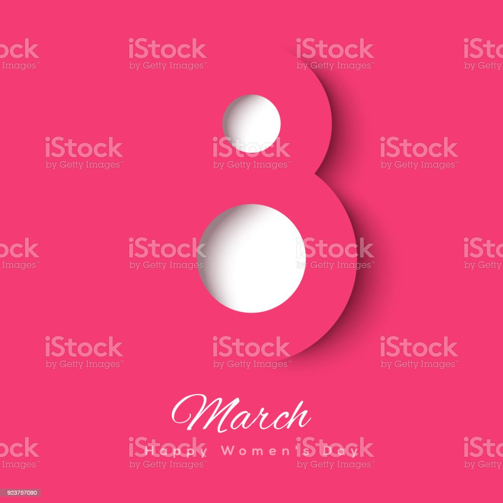 March 8 symbol paper cut vector art illustration