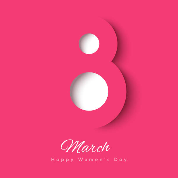 march 8 symbol paper cut - international womens day stock illustrations, clip art, cartoons, & icons