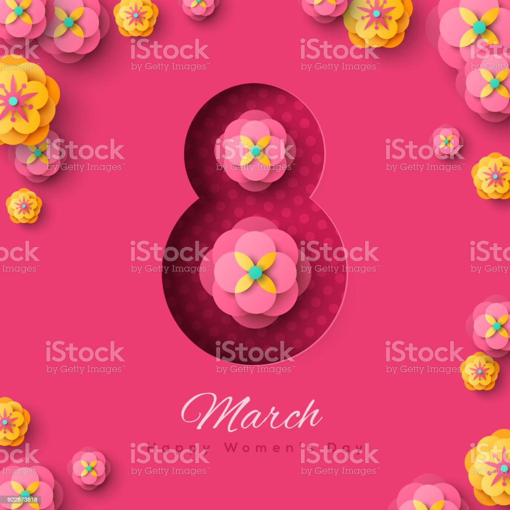 March 8 with flowers vector art illustration