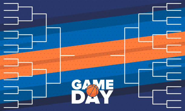 March Basketball Madness. Game Day Party. Professional team championship. Playoff grid, tournament bracket. Regular season and final game. Ball for basketball. Sport poster. Vector illustration vector art illustration