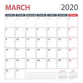 2020 March Calendar Planner Vector Template. Week starts Monday
