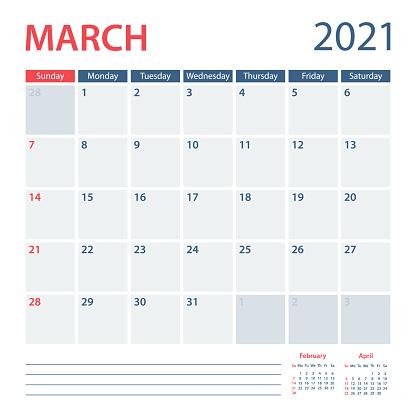 2021 March Calendar Planner Vector Template. Week starts on Sunday