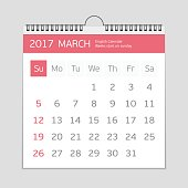 2017 march calendar template. Flat graphics of single page of wall Calendar concept isolated on gray background. Week starts from Sunday. EPS 10.