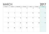 2017 March calendar (or desk planner), week start on Monday