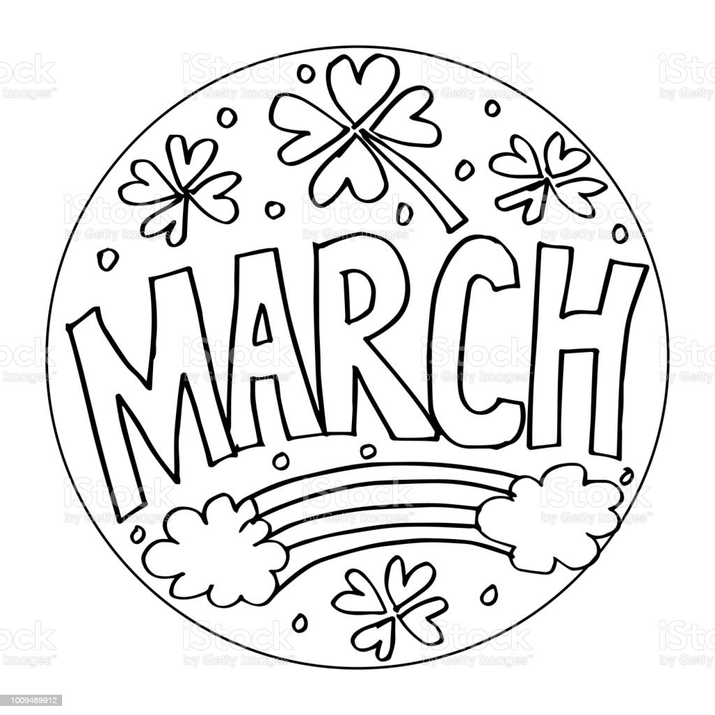 March Coloring Pages For Kids Stock Vector Art & More Images of ...