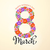Bunch of flowers forming a shape of number 8 bouquet to celebrate the Women's Day on 8th March