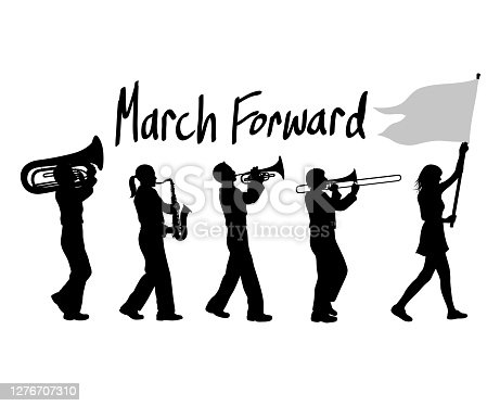 Positive saying along with a silhouette illustration of a high school marching band