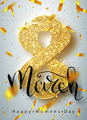 8 March gold glitter for Women Day greeting card and luxury text lettering on a white background. Womans Day concept design. Calligraphic pen inscription. Vector illustration EPS10.