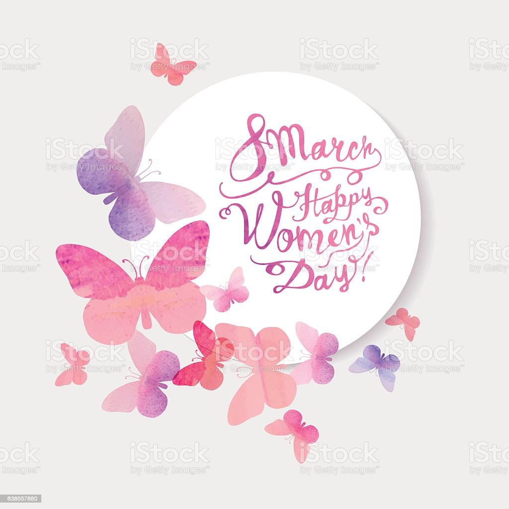 8 march. Happy Woman's Day! Pink watercolor butterflies