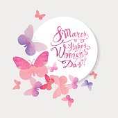 istock 8 march. Happy Woman's Day! Pink watercolor butterflies 638557880