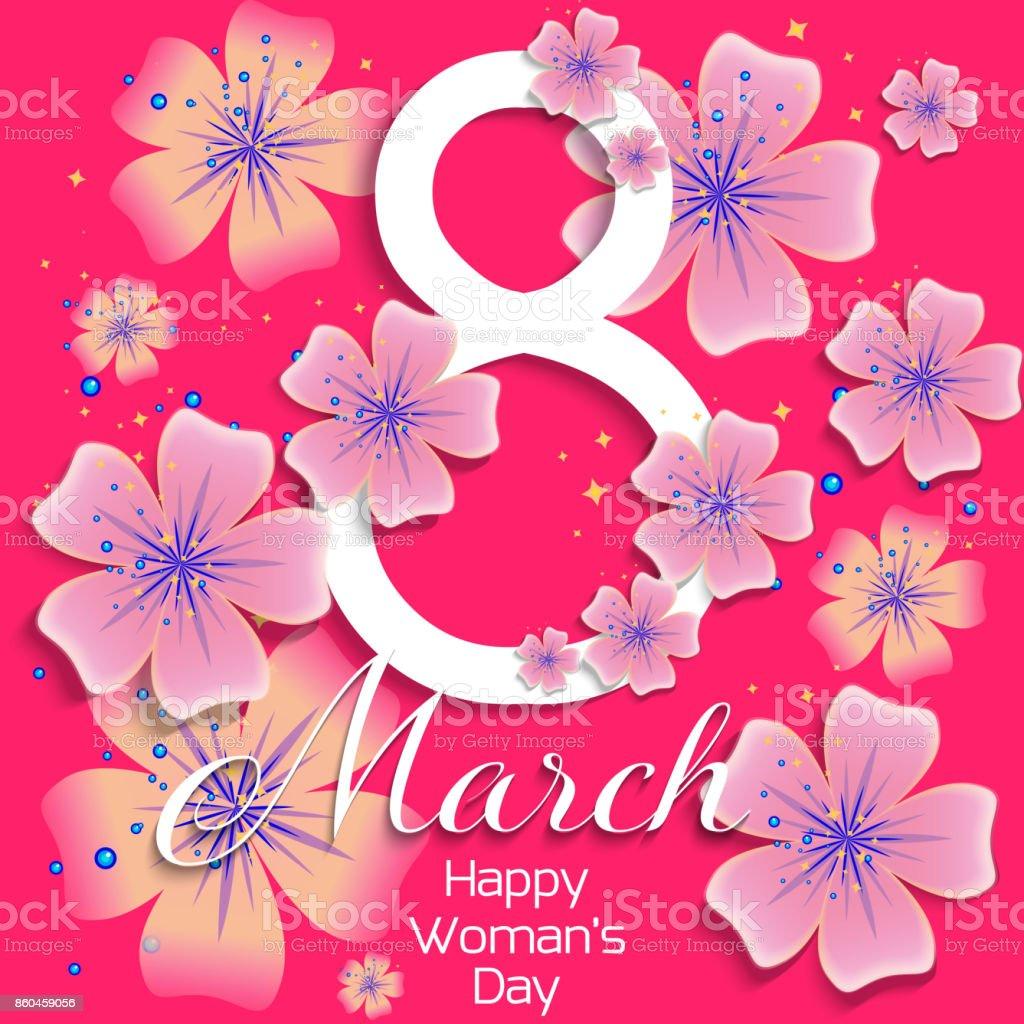 Schön Welche Blumen Blühen Im März Foto Von März. Glückliche Frauen-tageskarte Mit Abstrakten Blumen. Frühlingsferien.