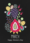 8 March. Happy Women's Day. Floral figure of eight. Spring holiday. Creative hand drawn colorful abstract flowers. Design of card, postcard, poster or invitation. Size A4. Vector illustration, eps10